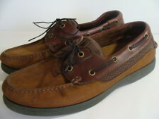 St. Johns Bay mens size 9.5 M US, brown leather boat/deck shoes EUC 016-8001