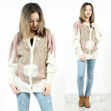 WOMENS VINTAGE 80'S ABSTRACT PINK BROWN BEAD EMBELLISHED MOHAIR KNIT CARDIGAN 14