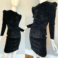 Vintage 80s Couture Black Velvet Steampunk Gothic Wiggle Party Mini Dress XXS