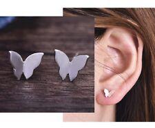Minimal Dainty Delicate Silver Butterfly Petite Stud Earrings Climber Crawler