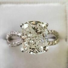 Solid 2.90 Ct Cushion Simulated Moissanite Engagement Ring 14K White Gold Over