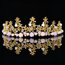 New Gold Wedding Tiara Crown Floret Fairy Rhinestone Party Bridal Veil Headband