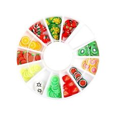 200pcs 3d Polymer Tiny Fimo Fruit Slices Wheel Nail Art Diy Designs Rhinestones