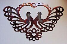 "Ornamental Love Bird Doves Metal Wall Art 14"" x 9"""