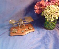 More details for victorian postal scales criterion, brass walnut serpentine, original weights