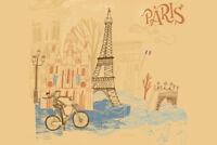 Paris France Landmarks Travel Illustration Art Print Poster 18x12 inch