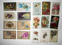 LOT OF 29 HAPPY BIRTHDAY GREETINGS ANTIQUE  POSTCARDS JAPANESE LANTERN ETC