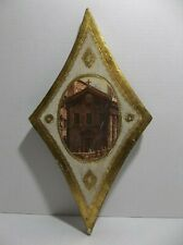Vintage Italian Florentine TOLEWARE Wood Wall Plaque CATHEDRAL