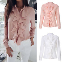 Ladies Casual Ruffle Front Long Sleeve Blouse Shirt Womens Office Tops Pullover