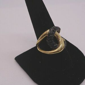 Black Spinel Overlap Ring, Belezza Italy, Size 10