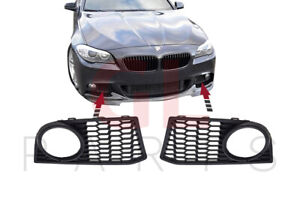 FOR BMW 5 F10 F11 2010-2014 M SPORT FRONT BUMPER FOG LIGHT GRILLE MESH SET PAIR