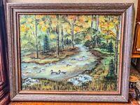 ORIGINAL Landscape River Stream Nature Oil Painting, Realistic Impressionist Art