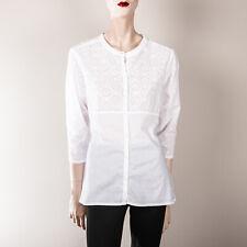 NAPAPIJRI Damen Bluse L 40 Weiß Lagenlook Oberteil Hemdbluse Lochstickerei Retro
