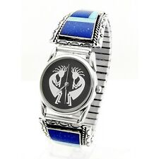 Native American Sterling Silver Mens Kokopelli Watch with Inlay