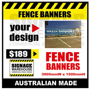 Custom Outdoor Fence Mesh Banner Sign Wrap - 3900mmW x 1500mmH Signage Warehouse
