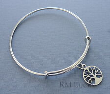 "Expandable wire bangle charm bracelet. Charm Tree of Life. 8 2/8"" (21 cm) s12"