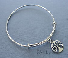 "Expandable wire bangle charm bracelet. Charm Tree of Life. 7 7/8"" (20 cm) s12"