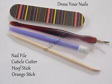 Cutícula Cortador + Hoof Stick + Orange Stick Lima De Uñas Esmeril Arte Herramientas Accesorios