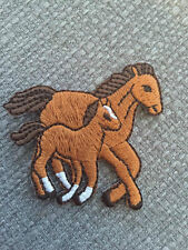 Embroidered Brown Horse Mare & Foal Equestrian Animal Iron on Sew on Patch/pony