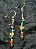 Seven Chakra Gem Chip Earrings Crystal Reiki Gemstones 925 Silver Beads Quality