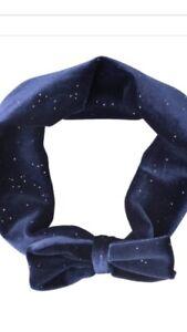 * TOPOLINO * Mädchen Baby Haarband Stirnband mit Schleife Samt Blau * NEU *
