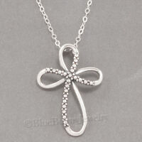 "CHRISTIAN RIBBON CROSS Necklace Jesus Charm Pendant STERLING SILVER 18"" 925 .925"