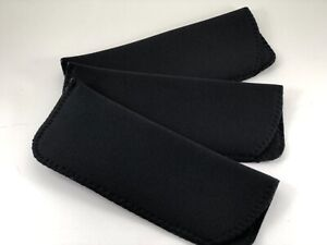 ~LOT of THREE~  All BLACK Neoprene Eyeglass Soft Reading Glass Cases Pouch