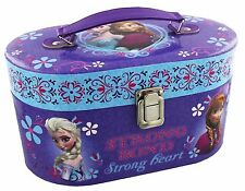 Girls Children Disney Frozen Hinged Lidded Oval Vanity Travel Case Mirror Tray