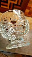 Large Tiki Face Clear Heavy Glass Mug Vase Vintage
