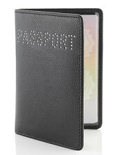 Ice London Black Nappa Leather Swarovski Elements Passport Holder Case Wallet