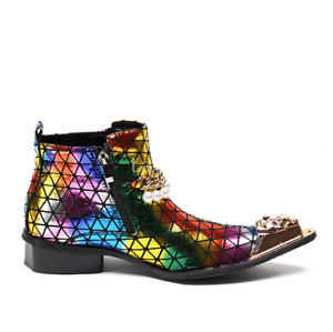 British Colorful Real Leather Ankle Boots Cowboy Pointy Toe Nightclub Mens Shoes