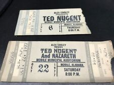 2 TED NUGENT Nazareth MOBILE AL Municipal Concert ticket stub  Jul 1978,Oct 1977
