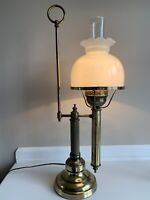 Vintage Electrcic Brass Student Lamp W/ Milk Glass Shade -Heavy 24""