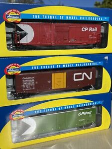 Athearn RTR Canadian Pacific 50' PD Box Car 2, Canadian Pacific 1 CN.  Lot Of 3