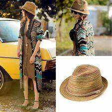 2016 New Women Ladies Sun Straw Hat Bohemia Striped Brim Trilby Summer Beach Cap