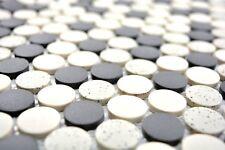 Mosaïque carreau céramique beige bouton noir non vitré 10-0113-R10_b | 1 plaque