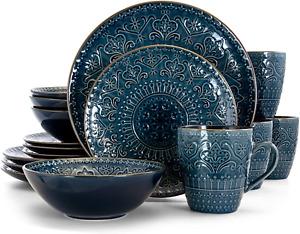 Elama Round Stoneware Embossed Dinnerware Dish Set, 16 Piece, Sea Blue with Trim