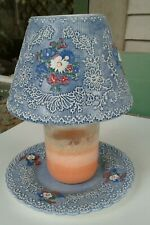 Vintage Yankee Candle Denim Chimney And Plate For Large Jar Candle
