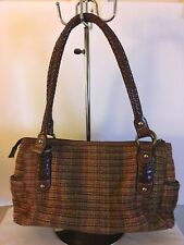 Brown FOSSIL  75083 Leather Woven Textured Tapestry Rust Green Handbag