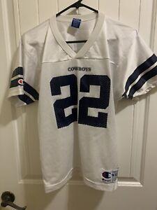 VTG Champion 1990s Emmitt Smith Dallas Cowboys White #22 Youth M 10-12 Jersey