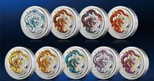 Perth Mint Australia $1 LS2 Colored Dragon 2012 1 oz .999 Silver Coin (Set of 9)