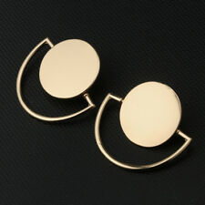 Women Gold Simple Statement Geometric Semi Circle Round Disc Stud Metal Earrings