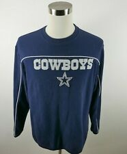 NFL Dallas Cowboys Mens Warm Fleece LS Crew Neck Navy Blue Sweatshirt Reebok M