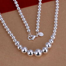 wholesale Sterling solid silver fashion jewelry Chain beads Necklace XLSN195