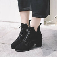 Women Fashion Ankle Boots Chunky Heel Suede Lace up Fashion Solid Casual Booties