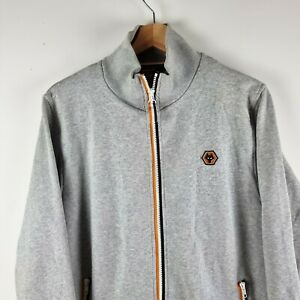 Men's Wolverhampton Wanderers Wolves Grey Full Zip Collared Jumper   Size Small