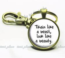 Train Like a Beast, Look Like a Beauty Fitness Quote Glass Bronze Key Chain