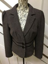 NEXT Tailored Jacket Blazer Brown Wool Blend Size 10R UK