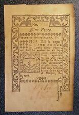 1786 Rhode Island Colonial Currency Nine 9 Pence Newport banknote