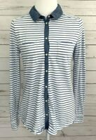 Ann Taylor Loft Top Womens Medium M Blue Striped Button Long Sleeve 100% Cotton